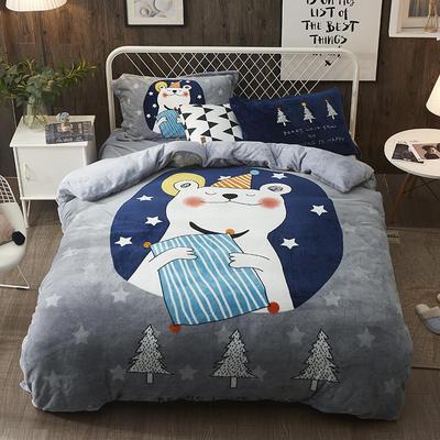 2019加厚卡通大版花法兰绒四件套床单床笠款 1.5m/1.8m床(床单款) 明星熊