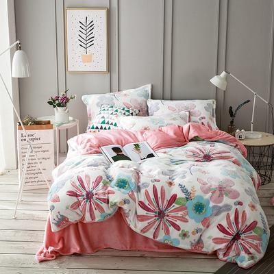 2019新品牛奶绒雪花绒水晶绒法莱绒保暖四件套床单床笠款 2.0m(6.6英尺)床 爱丽丝梦游