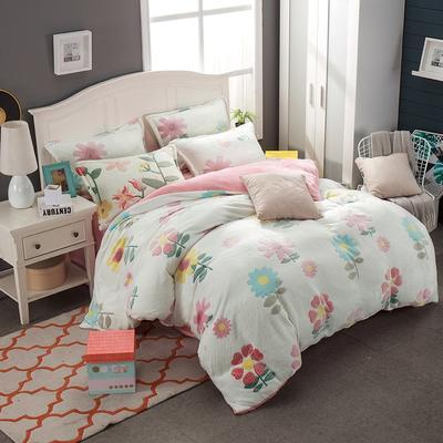 2019新品牛奶绒雪花绒水晶绒法莱绒保暖四件套床单床笠款 1.8m(6英尺)床 花海物语