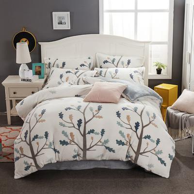 2019新品牛奶绒雪花绒水晶绒法莱绒保暖四件套床单床笠款 1.8m(6英尺)床 简森