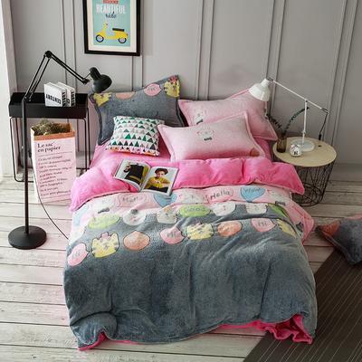 2019新品牛奶绒雪花绒水晶绒法莱绒保暖四件套床单床笠款 2.0m(6.6英尺)床 喵星人
