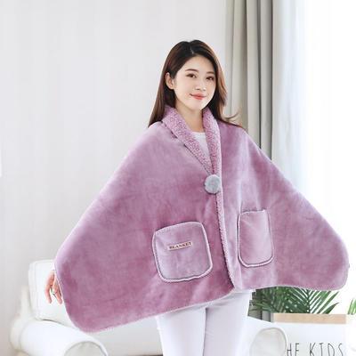 2020新品美式懒人毯双层羊羔绒加厚办公室旅游休闲毯披肩午睡斗篷多功能毯 60*170 藕粉