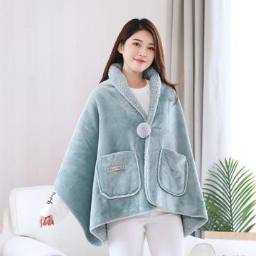 2019新品美式懒人毯双层羊羔绒加厚办公室旅游休闲毯披肩午睡斗篷多功能毯