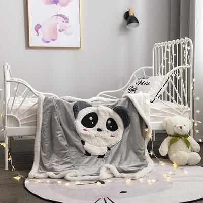 2020新款绵羊绒刺绣多功能毛毯 100cmx120cm 爱宝熊猫