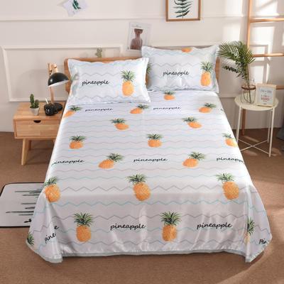 2019新款数码印花空调席冰丝席凉席藤席床单式可水洗凉席可折叠凉席 2.0m床 清香菠萝