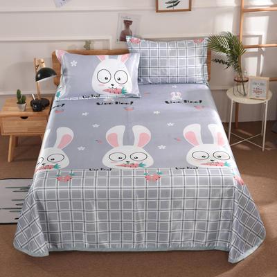 2019新款数码印花空调席冰丝席凉席藤席床单式可水洗凉席可折叠凉席 2.0m床 格子兔