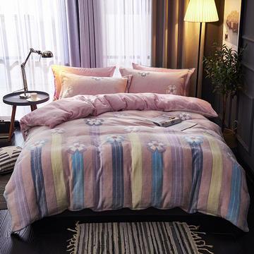 2019新品牛奶绒金貂绒水晶绒法莱绒保暖四件套床单床笠款