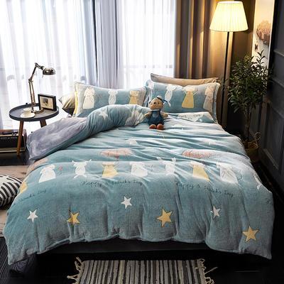 2019新品牛奶絨金貂絨水晶絨法萊絨保暖四件套床單床笠款 1.8m床笠款四件套 歡樂聚會