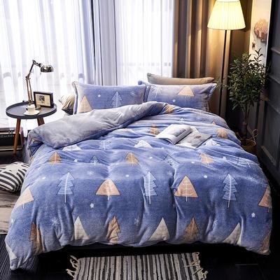 2019新品牛奶絨金貂絨水晶絨法萊絨保暖四件套床單床笠款 1.8m床笠款四件套 圣誕森林