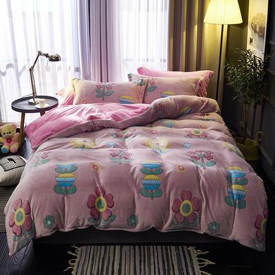 2019新品牛奶絨金貂絨水晶絨法萊絨保暖四件套床單床笠款 1.8m床笠款四件套 向陽花