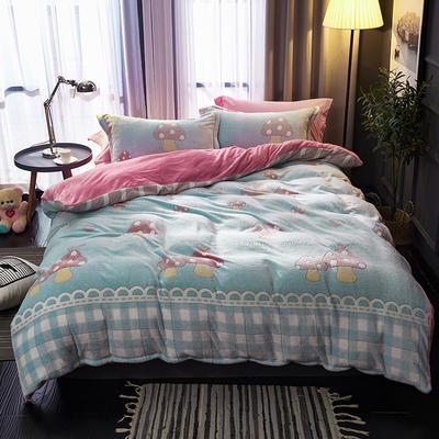 2019新品牛奶絨金貂絨水晶絨法萊絨保暖四件套床單床笠款 1.8m床笠款四件套 小蘑菇