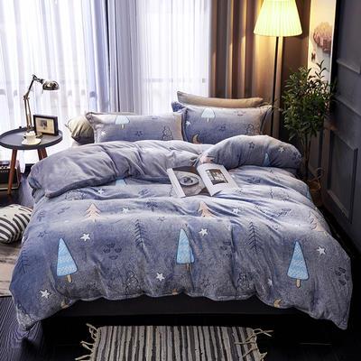 2019新品牛奶絨金貂絨水晶絨法萊絨保暖四件套床單床笠款 1.8m床笠款四件套 夜色天空