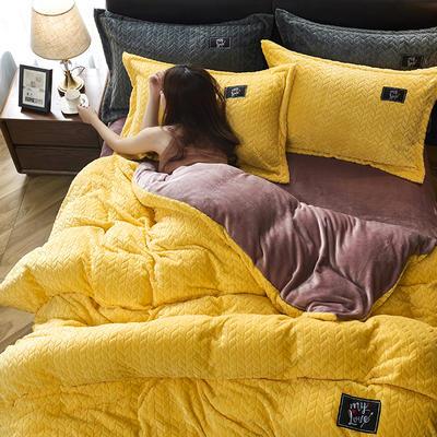 2019新品牛奶绒金貂绒水晶绒法莱绒保暖四件套床单床笠款 2.0m床单款四件套 黄色