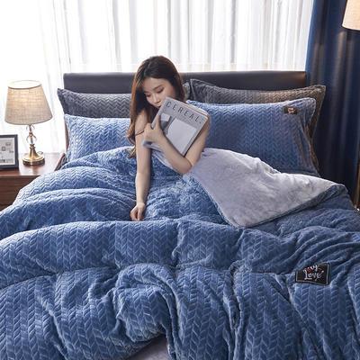 2019新品牛奶绒金貂绒水晶绒法莱绒保暖四件套床单床笠款 2.0m床单款四件套 灰蓝