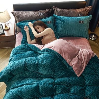 2019新品牛奶绒金貂绒水晶绒法莱绒保暖四件套床单床笠款 2.0m床单款四件套 墨绿色