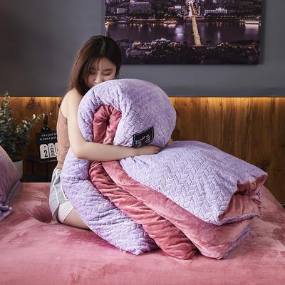 2019新品牛奶绒金貂绒水晶绒法莱绒保暖四件套床单床笠款 1.5m床单款四件套 浅紫色