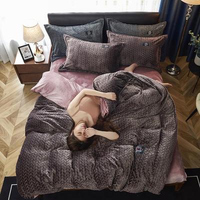 2019新品牛奶绒金貂绒水晶绒法莱绒保暖四件套床单床笠款 2.0m床单款四件套 深咖