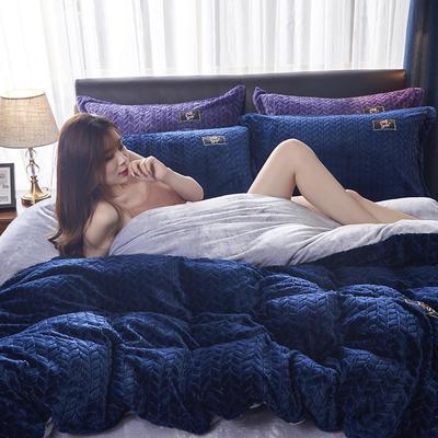 2019新品牛奶绒金貂绒水晶绒法莱绒保暖四件套床单床笠款 2.0m床单款四件套 深蓝色