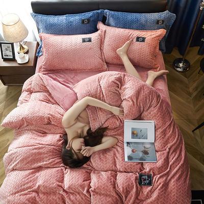 2019新品牛奶绒金貂绒水晶绒法莱绒保暖四件套床单床笠款 1.5m床单款四件套 玉色
