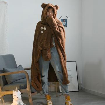 2020新品连帽斗篷盖毯毯子
