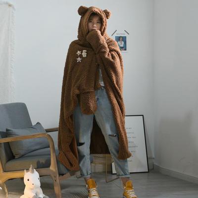 2020新品连帽斗篷盖毯毯子 斗篷 110*145帽子  32公分 咖啡小熊