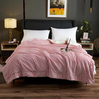 2020新款氧离子双层毛毯盖毯 150*200cm 格子红