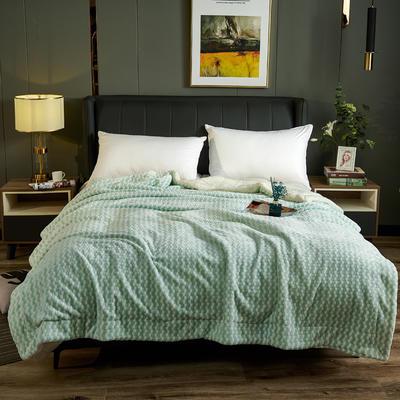2020新款氧离子双层毛毯盖毯 150*200cm 格子绿