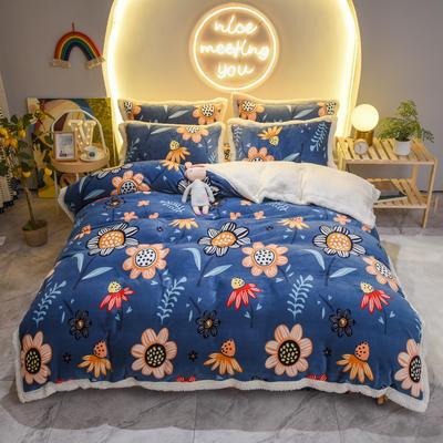 2020新款牛奶绒羊羔绒四件套 1.8m床单款四件套 向日葵-蓝