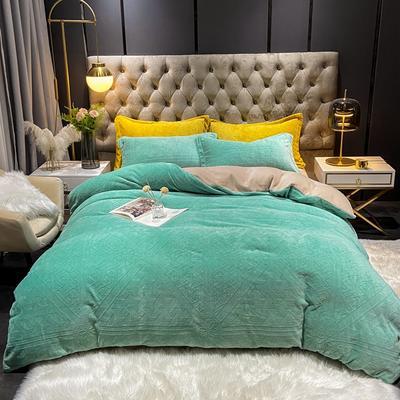 2021新款牛奶绒烂花四件套 1.8m床单款四件套 花纹亮绿