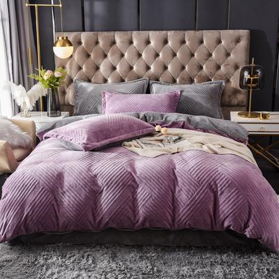 2021新款牛奶绒烂花四件套 1.8m床单款四件套 条纹灰紫