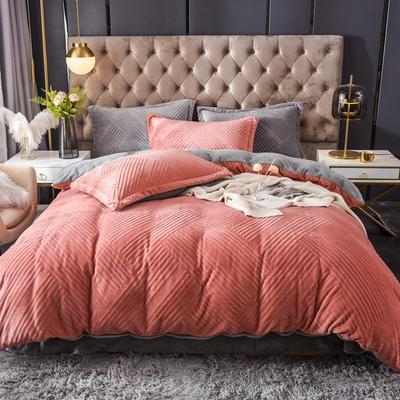 2021新款牛奶绒烂花四件套 1.8m床单款四件套 条纹橘红