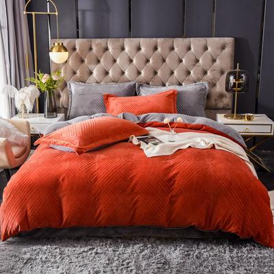 2021新款牛奶绒烂花四件套 1.8m床单款四件套 条纹亮橘