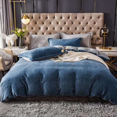 2021新款牛奶绒烂花四件套 1.8m床单款四件套 条纹深蓝