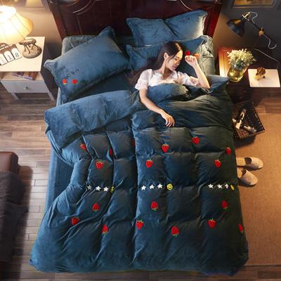 2018雅致水晶绒 草莓 1.8m(6英尺)床 草莓 宝蓝