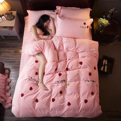 2018雅致水晶绒 草莓 1.8m(6英尺)床 草莓 粉