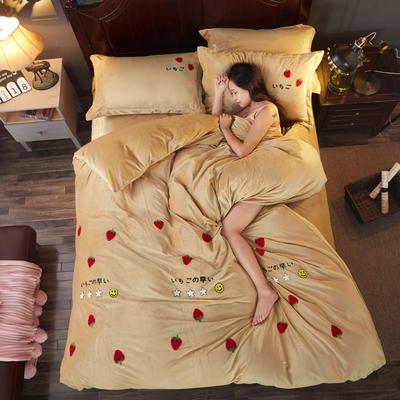2018雅致水晶绒 草莓 1.8m(6英尺)床 草莓 卡其金