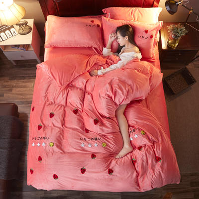 2018雅致水晶绒 草莓 1.8m(6英尺)床 草莓 西瓜红