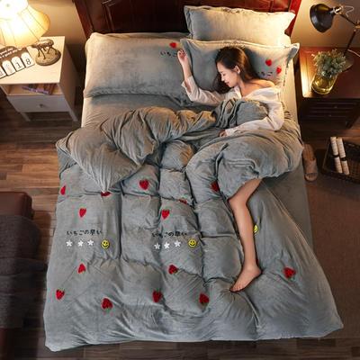 2018雅致水晶绒 草莓 1.8m(6英尺)床 草莓 银灰