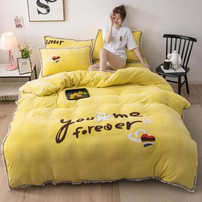 2019新款法莱绒保暖四件套 1.8m床单款四件套 奶黄