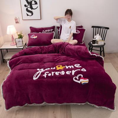 2019新款法莱绒保暖四件套 1.8m床单款四件套 紫红