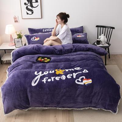 2019新款法莱绒保暖四件套 1.8m床单款四件套 紫罗兰