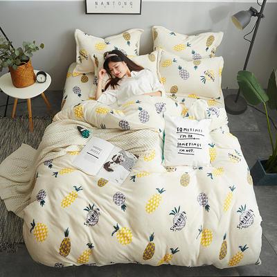 2018新款-双面法莱绒四件套 1.8m(6英尺)床 菠萝时代