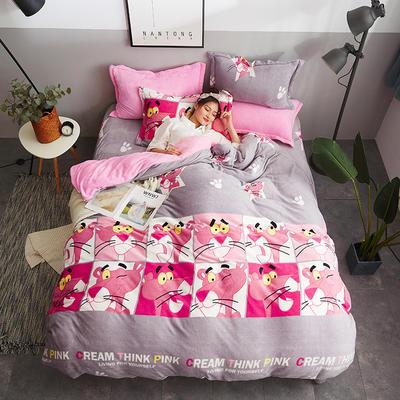 2018新款-双面法莱绒四件套 1.8m(6英尺)床 粉红豹