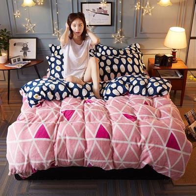 2018新款-双面法莱绒四件套 1.8m(6英尺)床 粉色佳人-B版