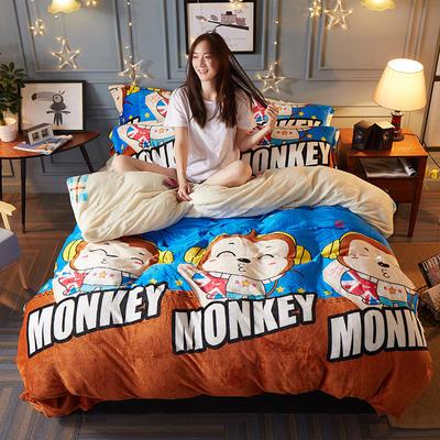 2018新款-双面法莱绒四件套 1.8m(6英尺)床 嘻哈猴