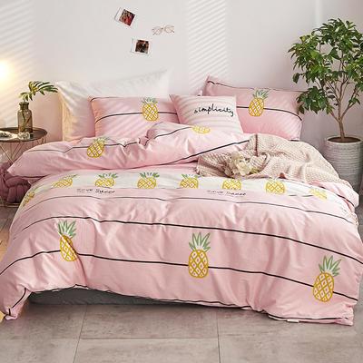 2018新款A棉B绒四件套 1.5m(5英尺)床 菠萝派