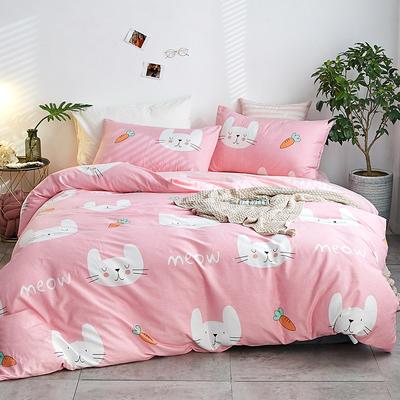2018新款A棉B绒四件套 1.8m(6英尺)床 可可兔