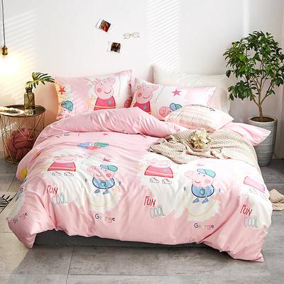 2018新款A棉B绒四件套 1.8m(6英尺)床 小猪佩奇