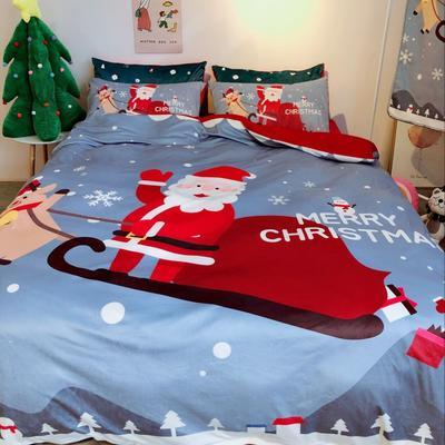 2018新款-圣诞款水晶绒四件套 1.2m(4英尺)床 圣诞灰