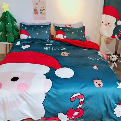 2018新款-圣诞款水晶绒四件套 1.2m(4英尺)床 圣诞老人绿